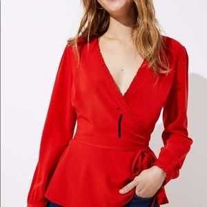 Loft Red Wrap Ruffle Blouse